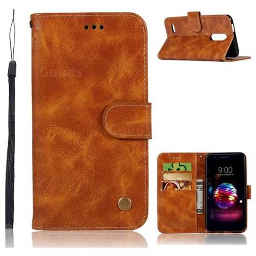 Luxury Retro Leather Wallet Case for LG K10 (2018) - Golden