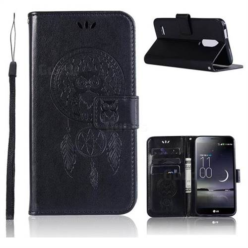 Intricate Embossing Owl Campanula Leather Wallet Case for LG K10 (2018) - Black