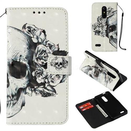 Skull Flower 3D Painted Leather Wallet Case for LG K10 (2018)