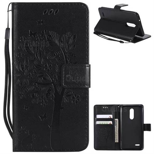 Embossing Butterfly Tree Leather Wallet Case for LG K10 (2018) - Black