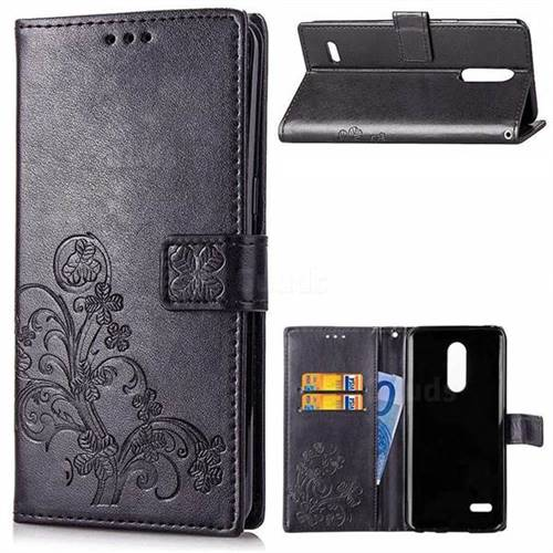 Embossing Imprint Four-Leaf Clover Leather Wallet Case for LG K10 (2018) - Black