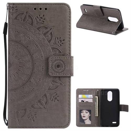 Intricate Embossing Datura Leather Wallet Case for LG K10 (2018) - Gray