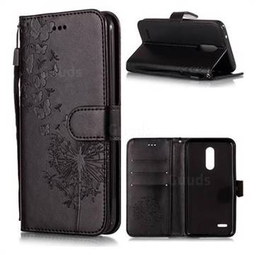 Intricate Embossing Dandelion Butterfly Leather Wallet Case for LG K10 (2018) - Black