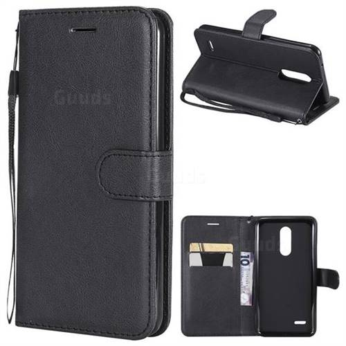 Retro Greek Classic Smooth PU Leather Wallet Phone Case for LG K10 (2018) - Black