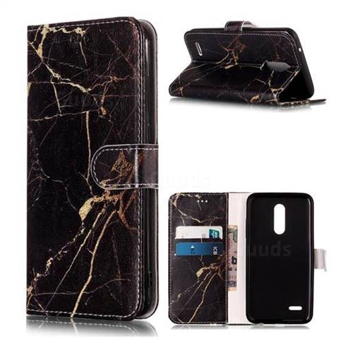Black Gold Marble PU Leather Wallet Case for LG K10 (2018)