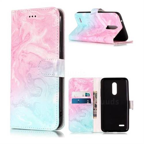 Pink Green Marble PU Leather Wallet Case for LG K10 (2018)