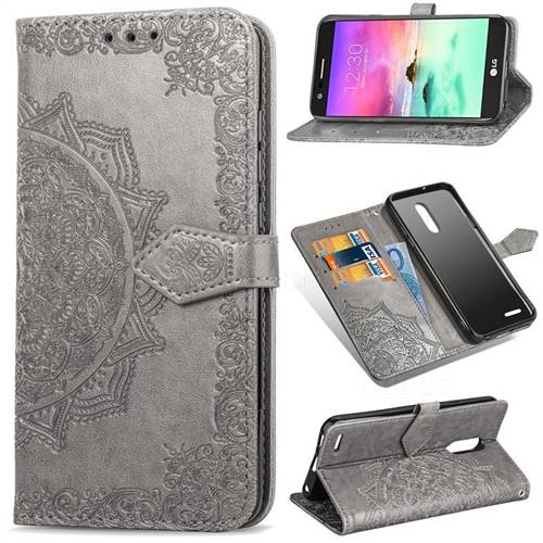 Embossing Imprint Mandala Flower Leather Wallet Case for LG K10 (2018) - Gray