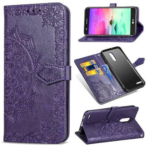 Embossing Imprint Mandala Flower Leather Wallet Case for LG K10 (2018) - Purple