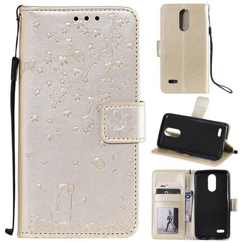 Embossing Cherry Blossom Cat Leather Wallet Case for LG K10 (2018) - Golden