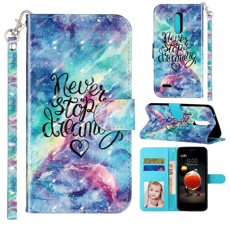 Blue Starry Sky 3D Leather Phone Holster Wallet Case for LG K10 (2018)