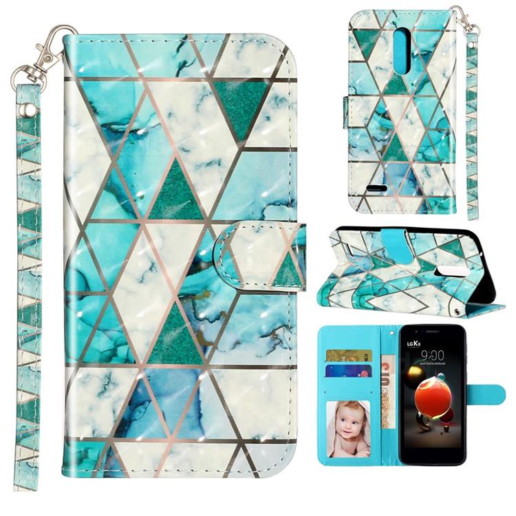 Stitching Marble 3D Leather Phone Holster Wallet Case for LG K10 (2018)