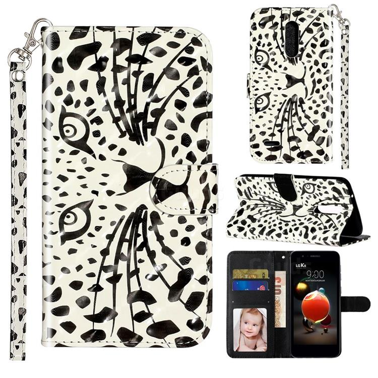 Leopard Panther 3D Leather Phone Holster Wallet Case for LG K10 (2018)
