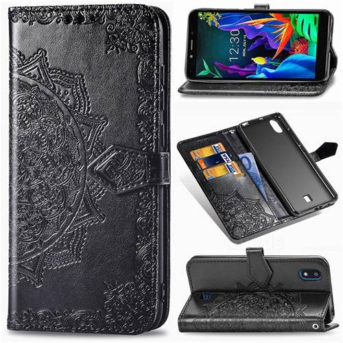 Embossing Imprint Mandala Flower Leather Wallet Case for LG K20 (2019) - Black