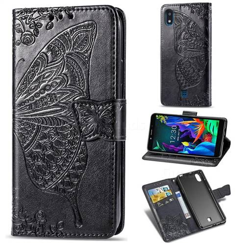 Embossing Mandala Flower Butterfly Leather Wallet Case for LG K20 (2019) - Black