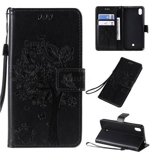 Embossing Butterfly Tree Leather Wallet Case for LG K20 (2019) - Black