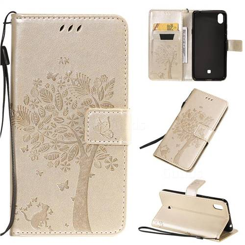 Embossing Butterfly Tree Leather Wallet Case for LG K20 (2019) - Champagne