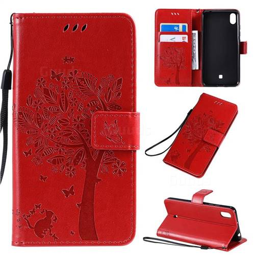 Embossing Butterfly Tree Leather Wallet Case for LG K20 (2019) - Red