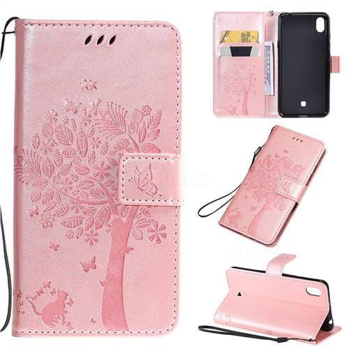 Embossing Butterfly Tree Leather Wallet Case for LG K20 (2019) - Rose Pink