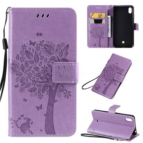 Embossing Butterfly Tree Leather Wallet Case for LG K20 (2019) - Violet