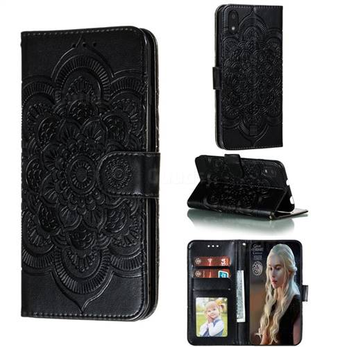 Intricate Embossing Datura Solar Leather Wallet Case for LG K20 (2019) - Black