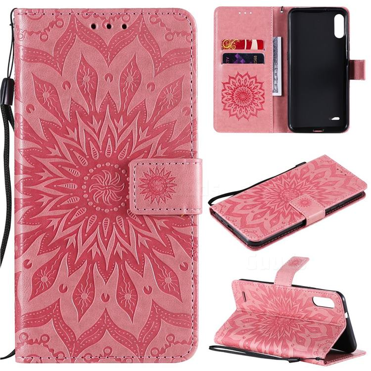 Embossing Sunflower Leather Wallet Case for LG K22 / K22 Plus - Pink