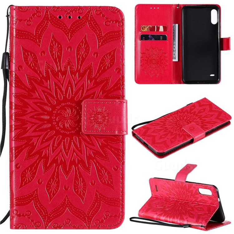 Embossing Sunflower Leather Wallet Case for LG K22 / K22 Plus - Red