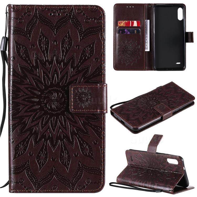 Embossing Sunflower Leather Wallet Case for LG K22 / K22 Plus - Brown