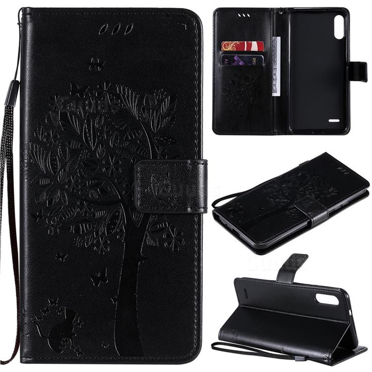 Embossing Butterfly Tree Leather Wallet Case for LG K22 / K22 Plus - Black