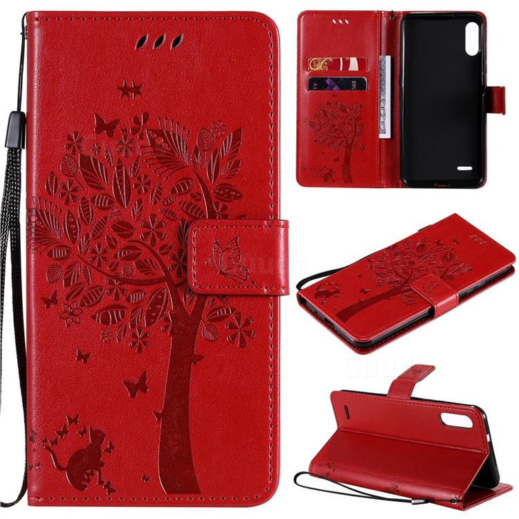 Embossing Butterfly Tree Leather Wallet Case for LG K22 / K22 Plus - Red