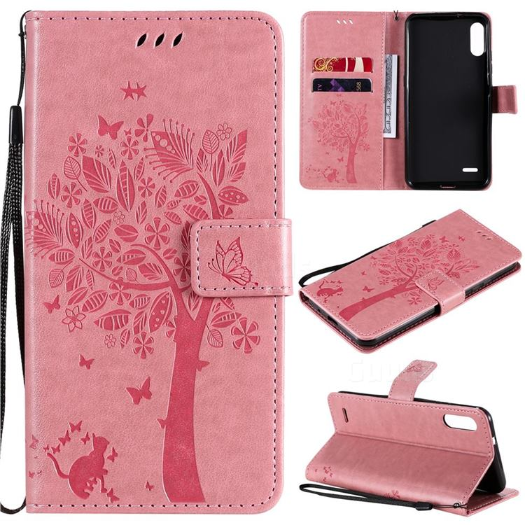 Embossing Butterfly Tree Leather Wallet Case for LG K22 / K22 Plus - Pink