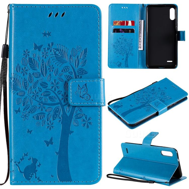 Embossing Butterfly Tree Leather Wallet Case for LG K22 / K22 Plus - Blue