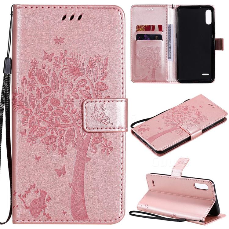 Embossing Butterfly Tree Leather Wallet Case for LG K22 / K22 Plus - Rose Pink