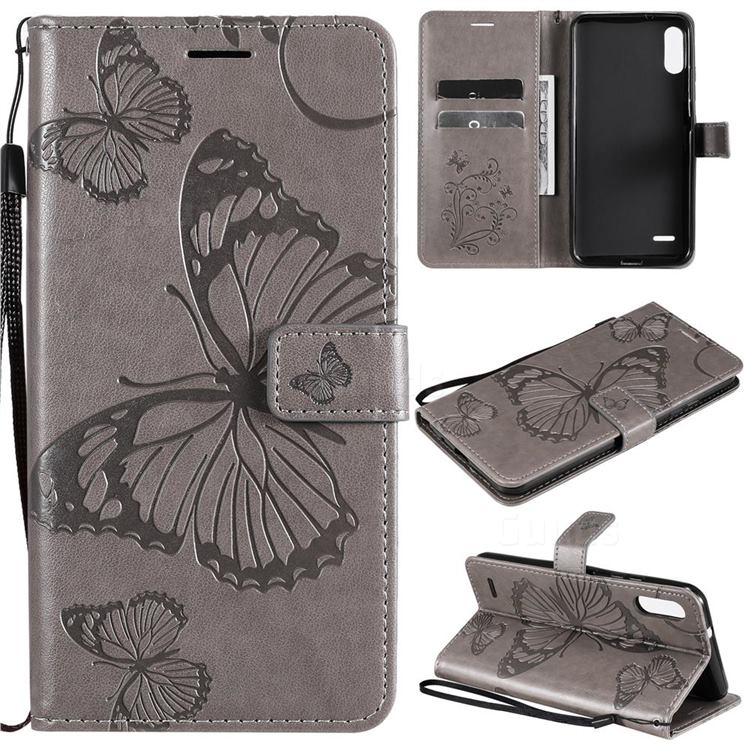 Embossing 3D Butterfly Leather Wallet Case for LG K22 / K22 Plus - Gray