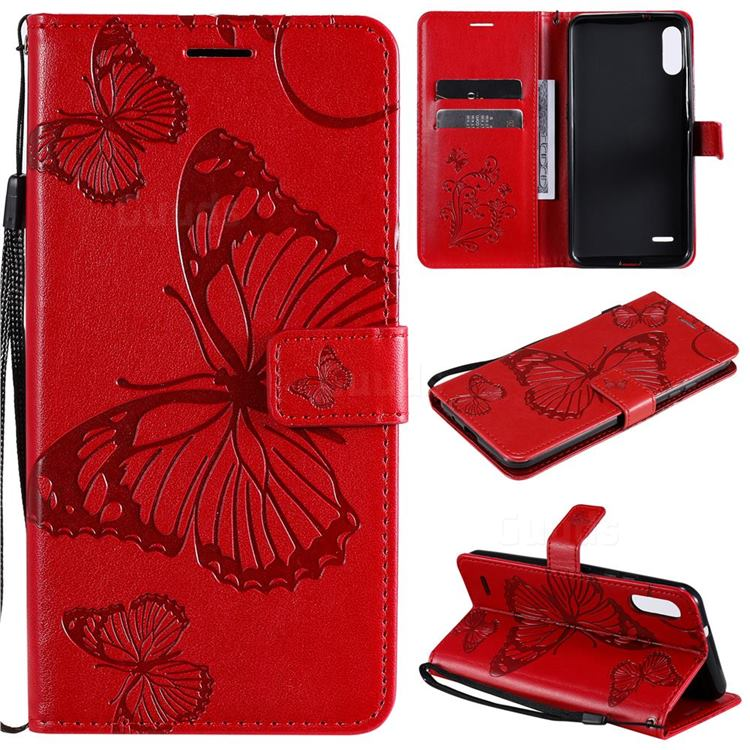 Embossing 3D Butterfly Leather Wallet Case for LG K22 / K22 Plus - Red