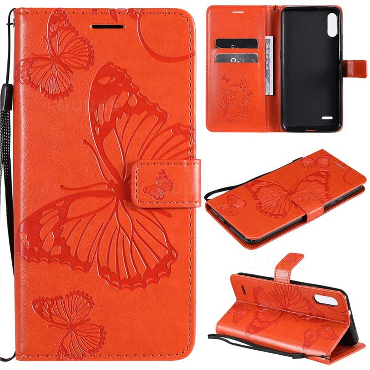 Embossing 3D Butterfly Leather Wallet Case for LG K22 / K22 Plus - Orange