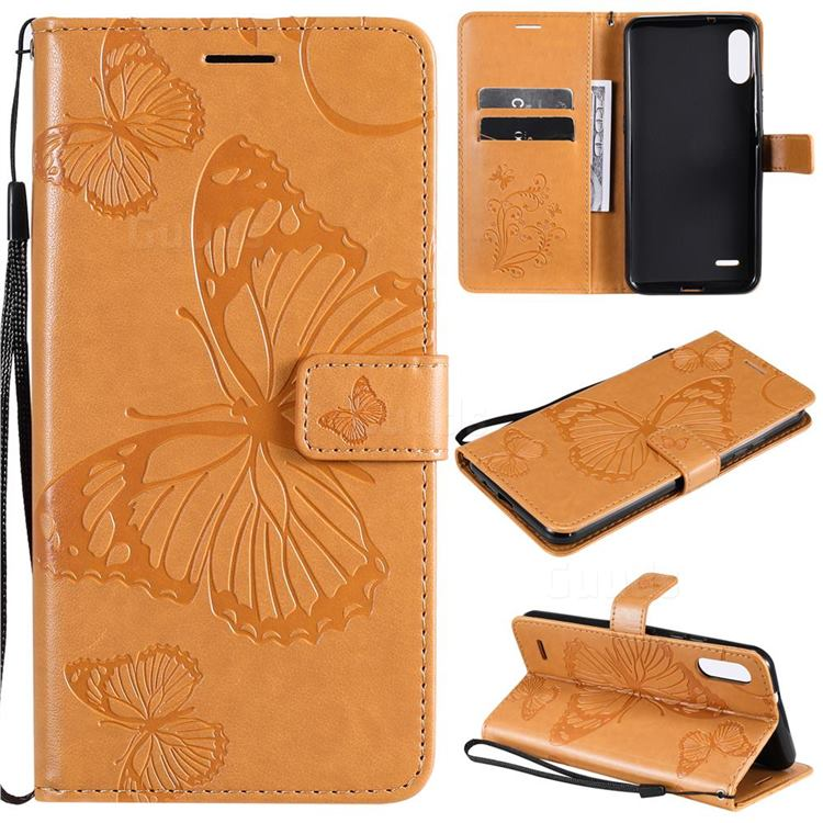 Embossing 3D Butterfly Leather Wallet Case for LG K22 / K22 Plus - Yellow
