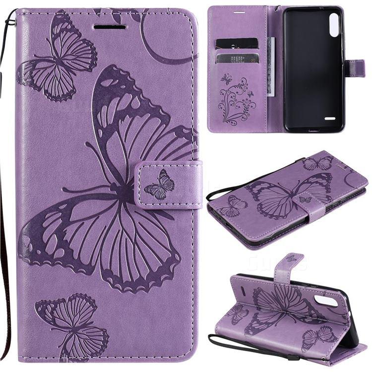 Embossing 3D Butterfly Leather Wallet Case for LG K22 / K22 Plus - Purple