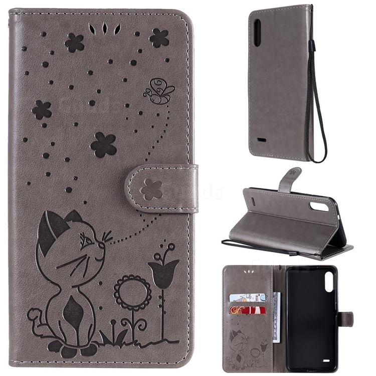 Embossing Bee and Cat Leather Wallet Case for LG K22 / K22 Plus - Gray