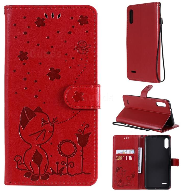 Embossing Bee and Cat Leather Wallet Case for LG K22 / K22 Plus - Red