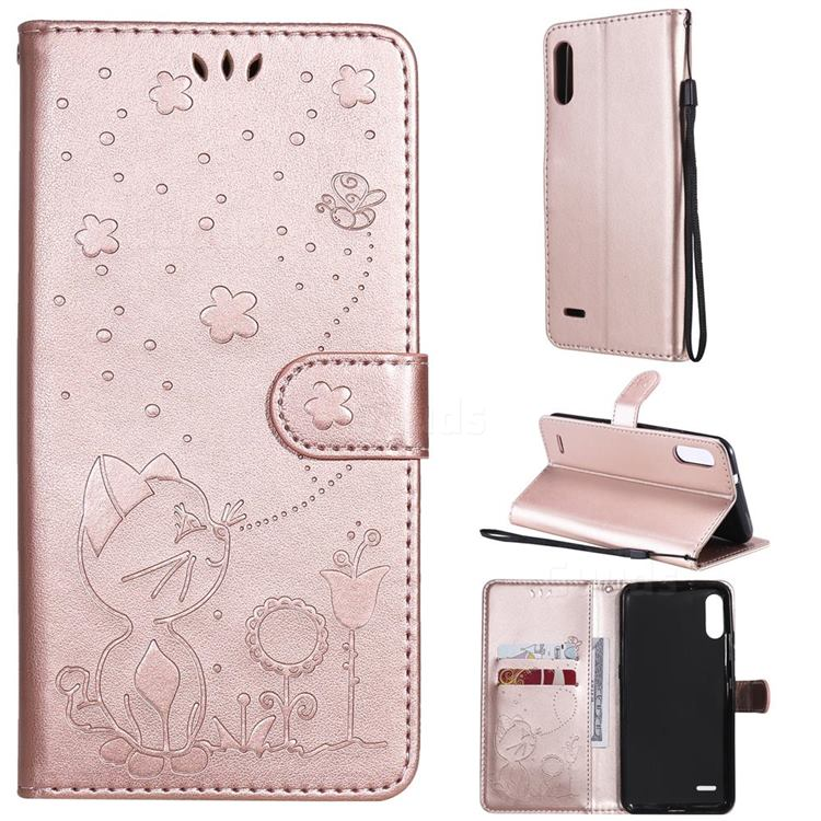 Embossing Bee and Cat Leather Wallet Case for LG K22 / K22 Plus - Rose Gold