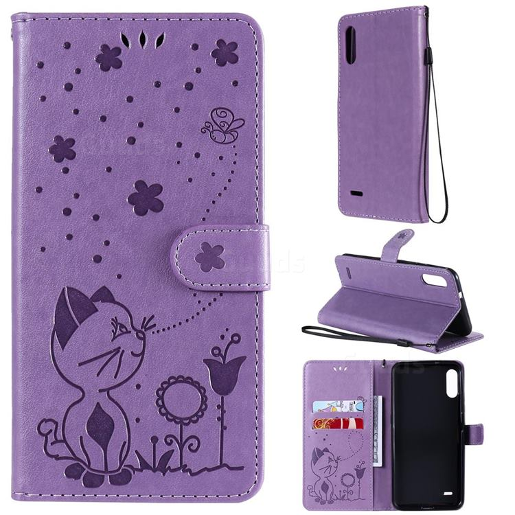 Embossing Bee and Cat Leather Wallet Case for LG K22 / K22 Plus - Purple