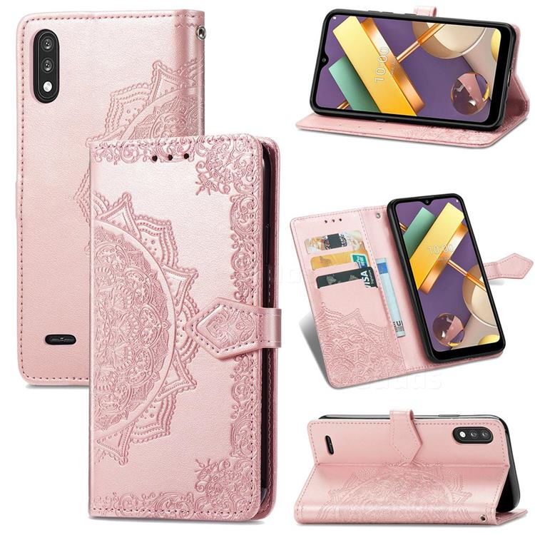 Embossing Imprint Mandala Flower Leather Wallet Case for LG K22 / K22 Plus - Rose Gold