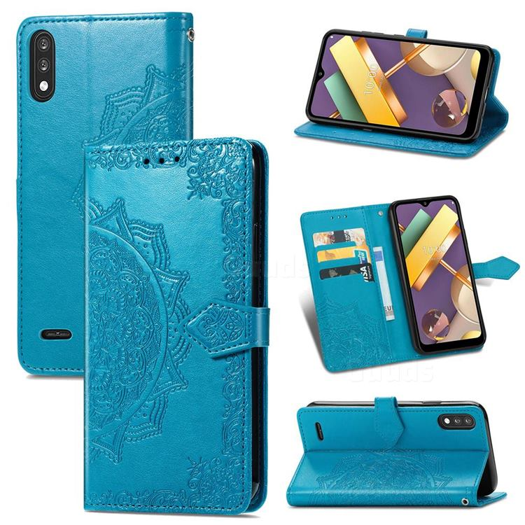 Embossing Imprint Mandala Flower Leather Wallet Case for LG K22 / K22 Plus - Blue