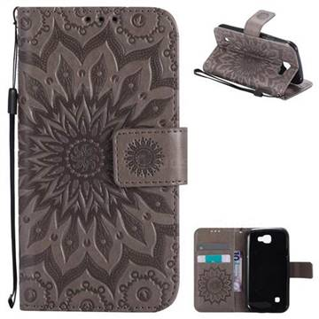Embossing Sunflower Leather Wallet Case for LG K3 - Gray