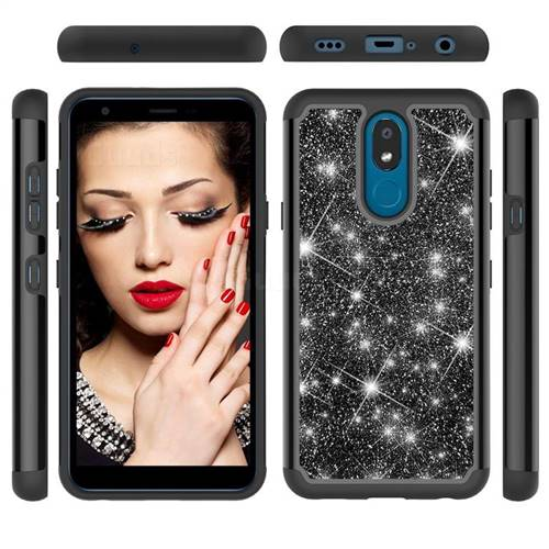 Glitter Rhinestone Bling Shock Absorbing Hybrid Defender Rugged Phone Case Cover for LG K30 (2019) 5.45 inch - Black