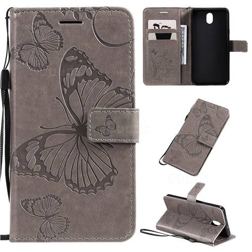 Embossing 3D Butterfly Leather Wallet Case for LG K30 (2019) 5.45 inch - Gray