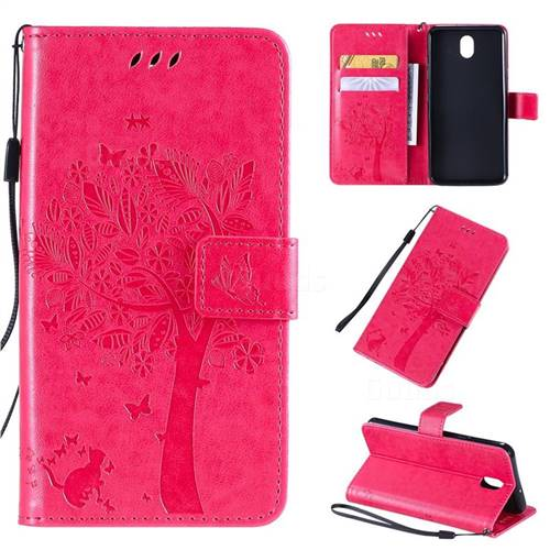 Embossing Butterfly Tree Leather Wallet Case for LG K30 (2019) 5.45 inch - Rose