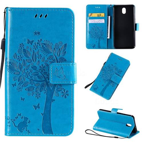 Embossing Butterfly Tree Leather Wallet Case for LG K30 (2019) 5.45 inch - Blue