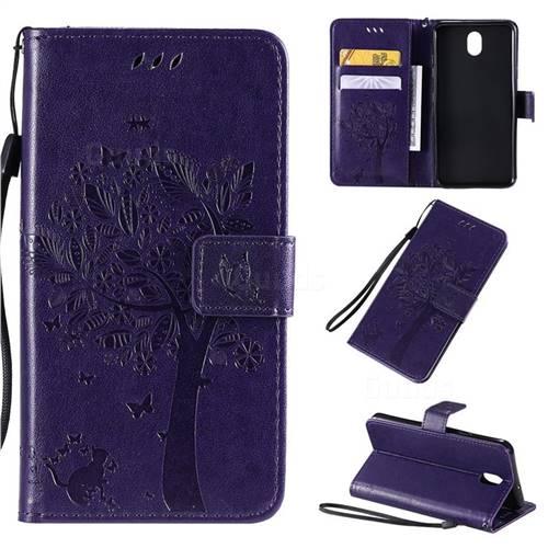 Embossing Butterfly Tree Leather Wallet Case for LG K30 (2019) 5.45 inch - Purple