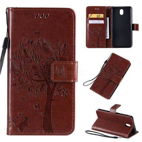 Embossing Butterfly Tree Leather Wallet Case for LG K30 (2019) 5.45 inch - Coffee